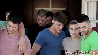 Altarboys in gay orgy suck cocks