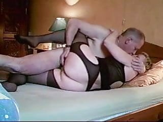 Free homemade granny fuck movies Amateur homemade granny in black open hose fucks
