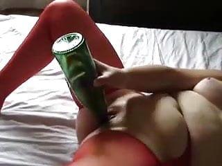 Spanked in bottle green knickers - Green bottle red stockings