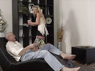 Girl having sex with dad Beautiful girl and old dad have amazing sex on small daybed