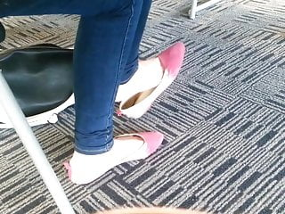 Bottom drive flat part v Candid asian teen shoeplay feet dangling pink flats part 1