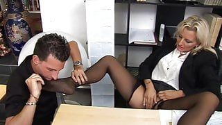 Sexy Italian boss takes care of business