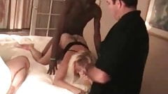Pussive cuckold sissy watching 2 BBC bulls fuck his hot wife