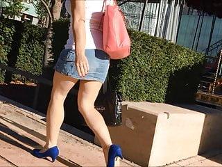 Denim mini skirt upskirt Candid denim mini skirt