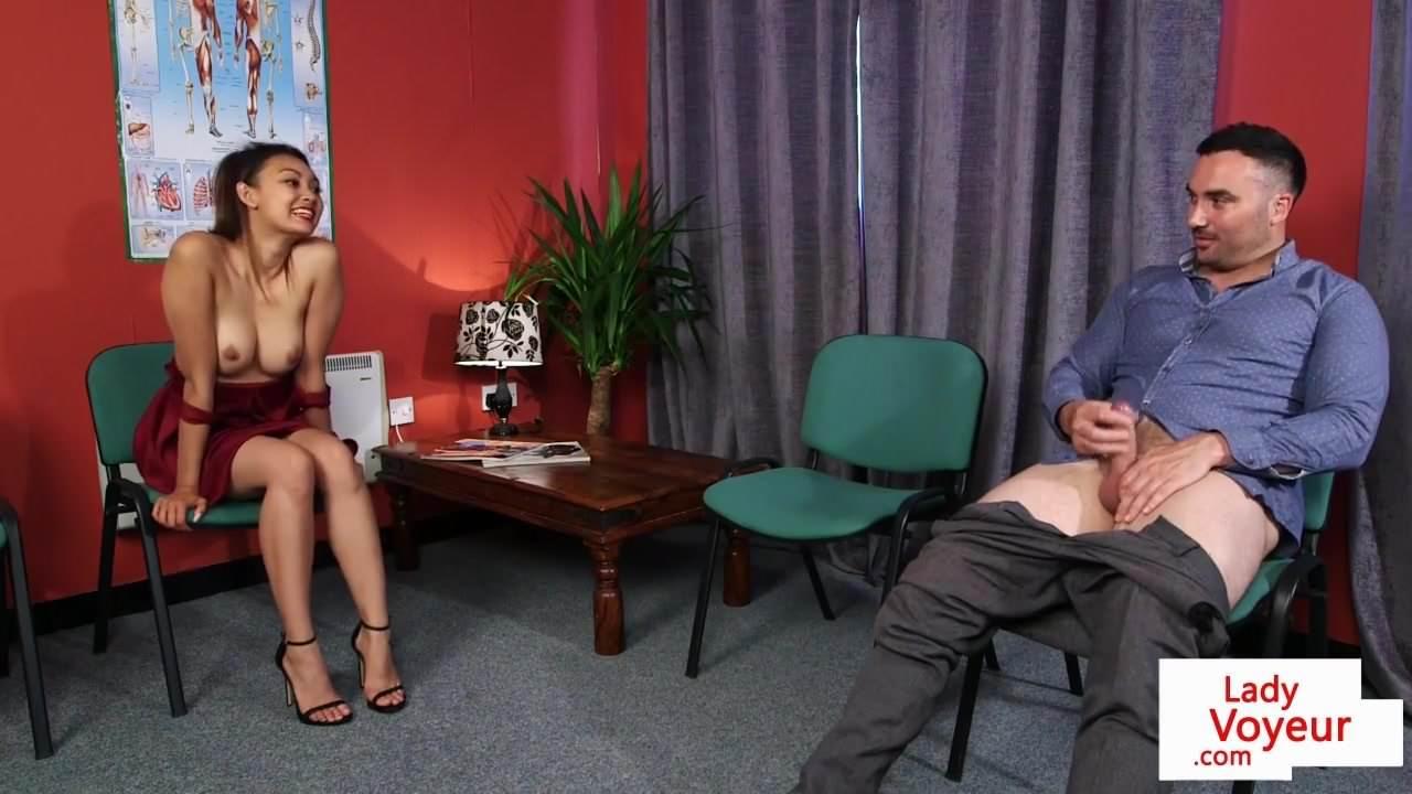 Classy Babe Instructs Naked Guy
