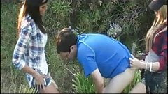 Two teenagers strapon fuck a boy met in the forest