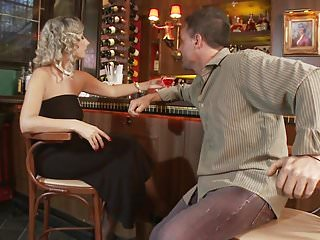 Spook bar lingerie Slutty blonde in stockings fucks horny hunk in a bar