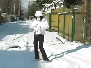Sex in the snow vid Teen handjob 4 outdoors in the snow