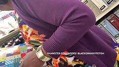 Upskirt Black Granny In Tight Panties