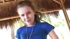 Young girl masturbating outdoors