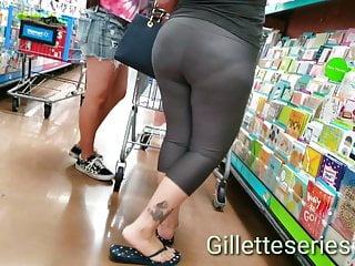 Tits moms shopping Candid big butt mom grey spandex shopping and kneeling
