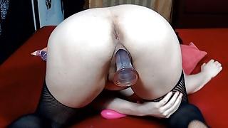 Big Pussy Lips grip Dildo so Tight