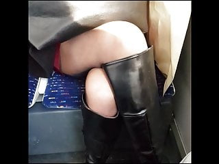 Boot up ass Girl in black pantyhose with boots in metro