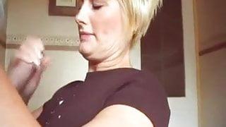 Cumshot on shirt and fingers stepmom
