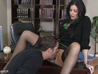 Hirsuite india pussy Stockings wearing india summer gets pussy eaten on a desk