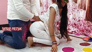 Holi special- YourPriya enjoyed stepbrother's huge dick in pussy