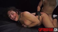 Bella gets blindfolded and tied upthen slammed really rough
