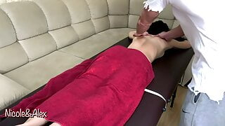 A married girl cheats with a massage therapist. Erotic massage