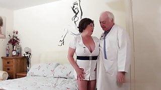 Dirty doctor fucks his BBW naughty nurse mature straight step dad
