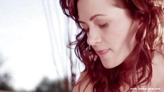 Sensual Lesbian Lovers Kissing, Connecting And enjoying