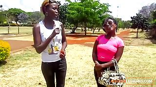 Ebony African Lesbian Licks Black Pussy after shower massage
