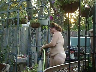 Shoulders back big tits stick out Wife out back