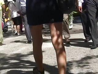 A line skirt with flouncy bottom Short skirt n panty lines love em