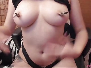 Beautiful asian sluts - Tattoo beauty slut has her nipple clamps p2