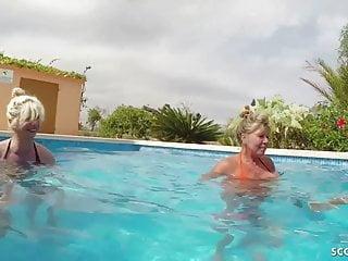 Fffm ass fucking - Three german milfs help guy to cum on holiday in fffm