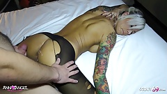 German Client Condom Off and Cum on Pussy by German Hooker