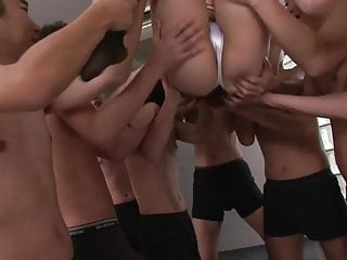 Girl being gang banged pics - Eager girl gets gang banged by a group of older guys