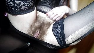 a dirty whore after a wild fuck showed her hairy pussy