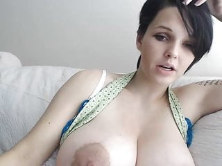 Ass pussi - Girl with short hair and huge tits plays with pussy