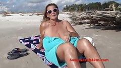 Beach seduction for big mama