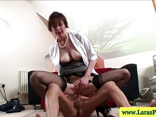 Milf choaks on cock Mature stockings bouncing on cock