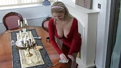 Georgie's downblouse while cleaning