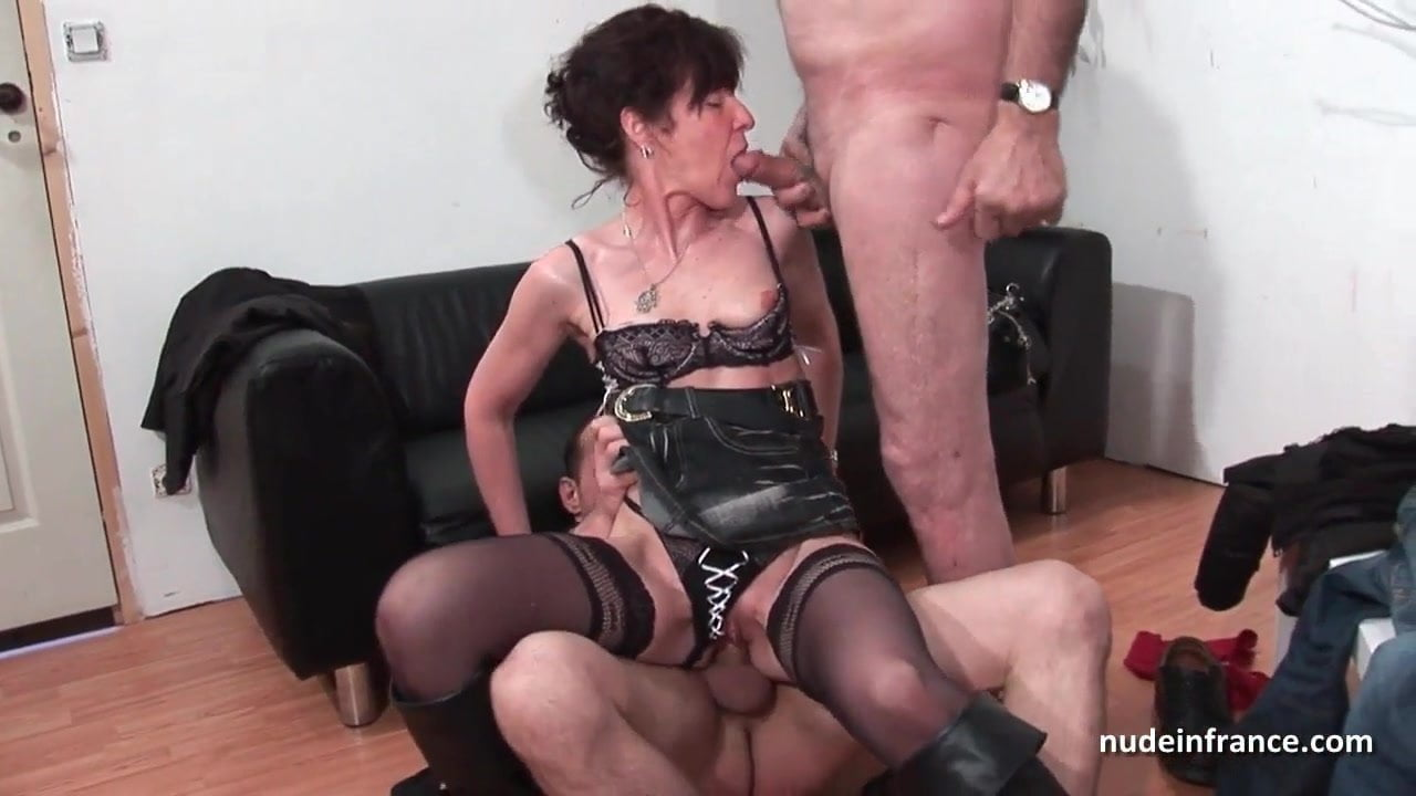 French Blonde Mature Threesome
