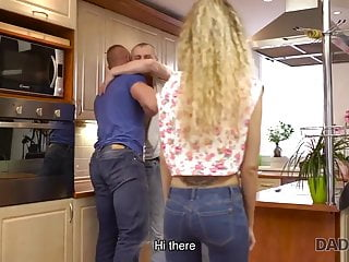 How to find teen workers Daddy4k. guy is very surprised to find his babe and father