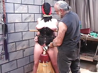 Free corset sex video Dude clamps fully hodded and corseted bdsm brunettes cunt