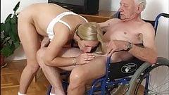 Nursing home, grandpa and blonde girl