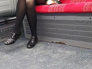 Stockings nylons pantyhose legs Long pantyhose legs on london overground