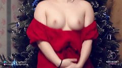 Red Dress. Small Breasts. Christmas Tree. Kira is Dancing