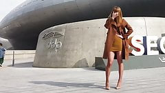 Brown Mini Dress & Heels - The Beauty of Crossdressing