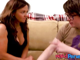 Nerd busty - Busty amateur persuaded to suck off a nerd