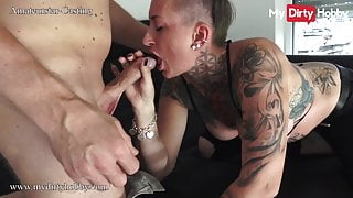 MyDirtyHobby - Busty tattooed babe's first sex on camera