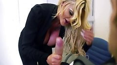 Candy Sexton wrapping it up in her plump dick-sucking lips