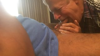 Nice silverdaddy sucking younger man in bed