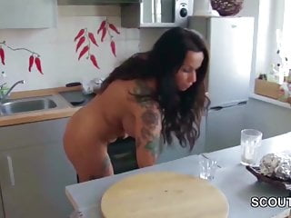 Young pre naked - Stepson caught step-mom naked in kitchen seduce to fuck her