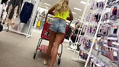 Slutty teen small shorts teasing store