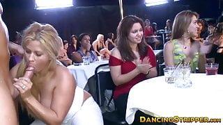 Busty blonde swallows stripper dick in kinky orgy